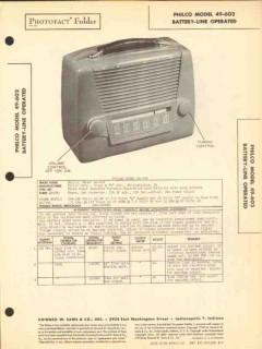 philco model 49-602 4 tube am radio receiver sams photofact manual
