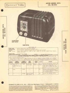 arvin models 547 547a 5 tube am radio sams photofact manual