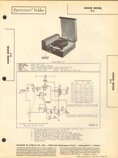 audar model p-7 phono record player 2 tube amp sams photofact manual