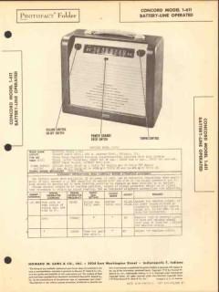 concord model 1-611 6 tube am radio receiver sams photofact manual