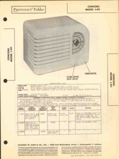 concord model 1-411 4 tube am radio receiver sams photofact manual