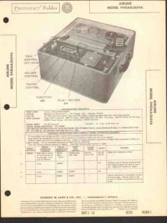 airline model 94gaa3654a tape recorder am radio sams photofact manual