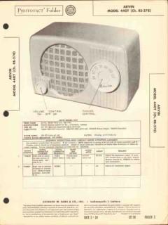 arvin model 440t 4 tube am radio receiver sams photofact manual