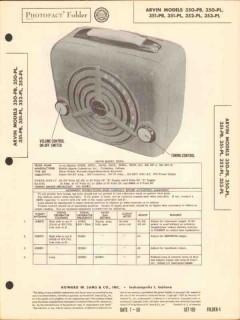 arvin model 350 351 352 353 series am radio sams photofact manual