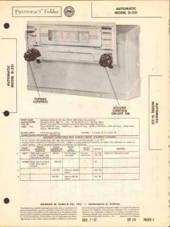 automatic model d-251 am car radio receiver sams photofact manual