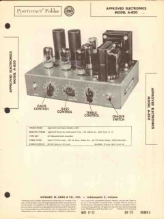 approved electronics model a-850 audio amplifier sams photofact manual