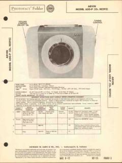 arvin model 650-p 5 tube am radio receiver sams photofact manual