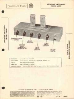 approved electronics model a-800 audio amplifier sams photofact manual