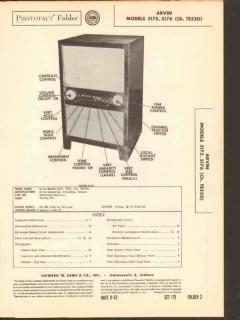 arvin model 5175 5176 tv television receiver sams photofact manual
