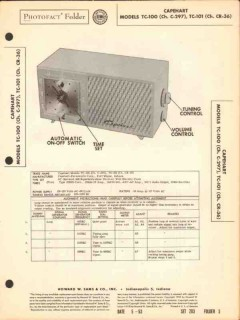 capehart model tc-100 tc-101 am radio clock sams photofact manual