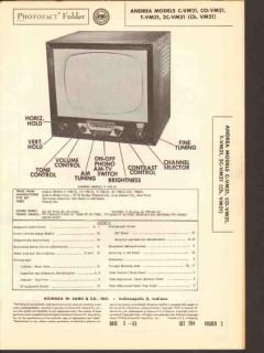andrea model xx-vm21 tv television receiver sams photofact manual