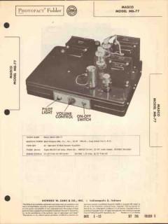 masco model mb-77 7 tube audio booster amplifier sams photofact manual