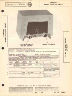capehart model t-522 5 tube am radio receiver sams photofact manual