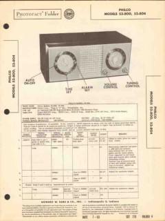philco model 53-800 53-804 am sw radio clock sams photofact manual