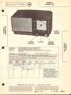 admiral chassis 5e3 am radio receiver clock sams photofact manual