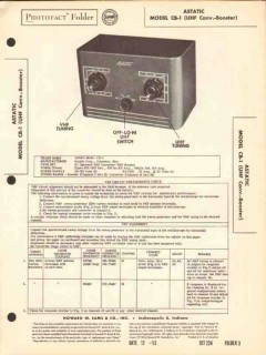 astatic model cb-1 tv uhf converter booster sams photofact manual