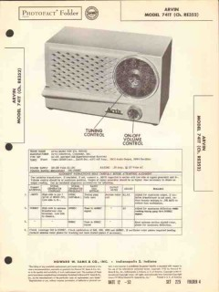 arvin model 741t 4 tube am radio receiver sams photofact manual