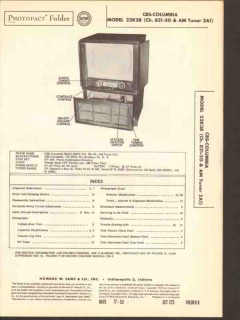 cbs-columbia model 22k38 tv am radio phonograph sams photofact manual