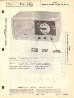 arvin model 581tfm 780tfm am fm radio receiver sams photofact manual