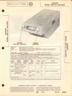allstate model 6284 am car radio receiver sams photofact manual