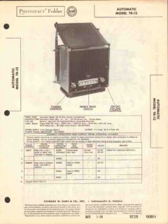 automatic model tr-12 am car radio receiver sams photofact manual