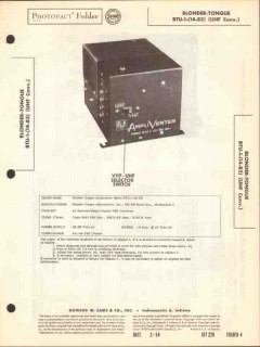 blonder-tongue model btu-1 uhf converter tv sams photofact manual
