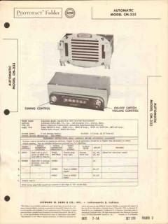 automatic model cm-333 am car radio receiver sams photofact manual