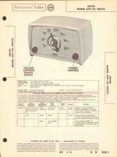 arvin model 651 5 tube am radio receiver sams photofact manual
