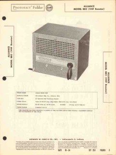 alliance model bb2 vhf television booster sams photofact manual
