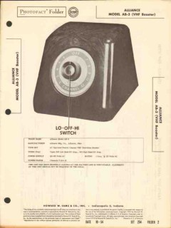 alliance model ab-3 vhf television booster sams photofact manual