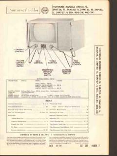 hoffman chassis 402-24 403-24 tv television sams photofact manual