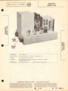 mcintosh models a-116 30 watt audio amplifier sams photofact manual