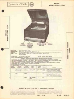 philco model b1349 c1348 am radio receiver phono sams photofact manual