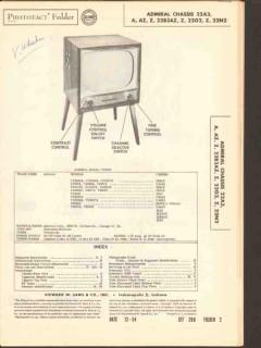 admiral chassis 22a3 22b3az 22x2 tv television sams photofact manual