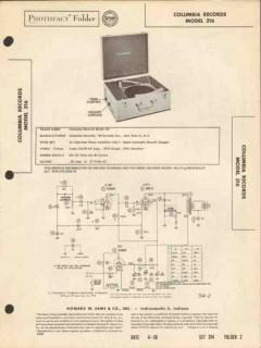 columbia model 316 3-speed record changer phono sams photofact manual