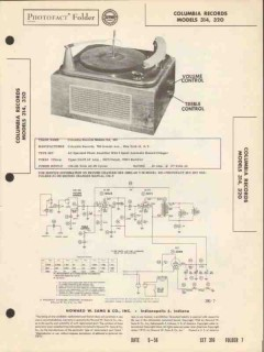 columbia model 314 320 3-speed record changer sams photofact manual