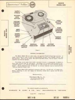 masco model 500 magnetic tape recorder playback sams photofact manual