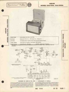 airline model gaa-954a gaa-1000a record changer sams photofact manual