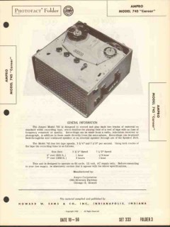 ampro model 745 career tape recorder playback sams photofact manual
