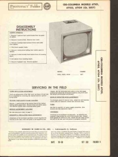 cbs-columbia model 6t10x tv television receiver sams photofact manual