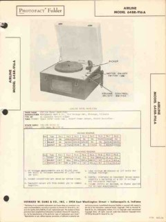 airline model 64br-916a phonograph record player sams photofact manual