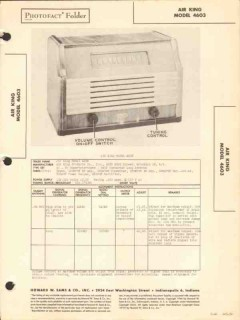 air king model 4603 5 tube am radio receiver sams photofact manual