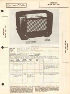puritan model 501 502 5 tube am radio receiver sams photofact manual