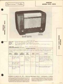 puritan model 501x 502x 5 tube am radio receiver sams photofact manual