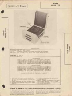audar model p-1a phonograph record player sams photofact manual