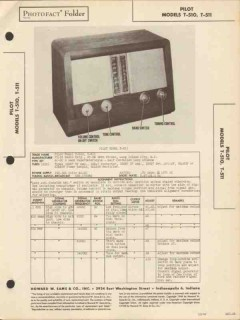 pilot model t-510 t-511 am sw radio receiver sams photofact manual