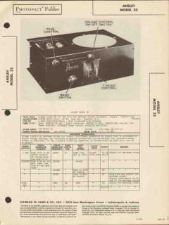 ansley model 32 9 tube am sw radio receiver sams photofact manual