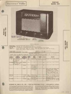 puritan model 504 6 tube am sw radio receiver sams photofact manual