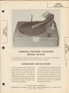 admiral model rc200 phonograph record changer sams photofact manual