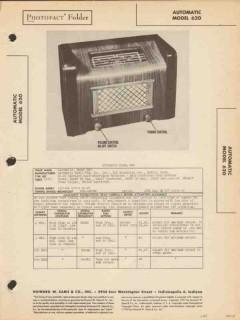 automatic model 620 6 tube am radio receiver sams photofact manual